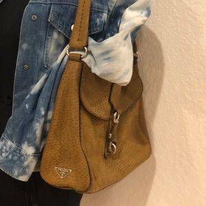 PRADA distressed nubuck leather satchel